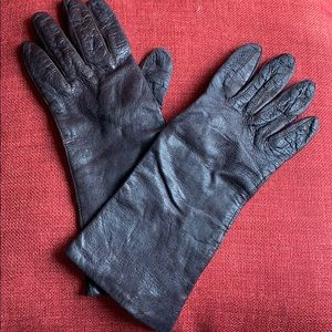 Vintage Italian 100% Rayon Brown Gloves 7